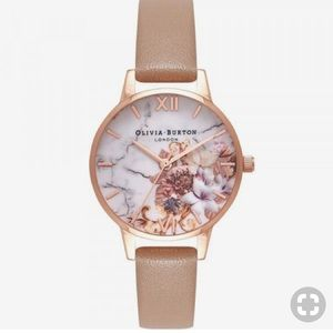 OLIVIA BURTON marble rose gold and sand watch